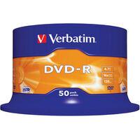 Verbatim DVD-R Matt Silver, 16x certifié, 50 pièces en cake box (43548)