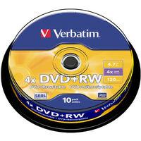 Verbatim DVD+RW 4x certifié, 10 pièces en cake box (43488)