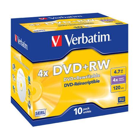 Verbatim DVD+RW 4x certifié, 10 pièces en jewelcase (43246)