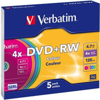 Verbatim DVD+RW 4x couleur, 5 pièces en slimcase (43297)