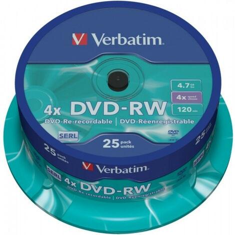 Verbatim DVD-RW Data/Video, 4x certifié, 25 pièces en cake box (43639)