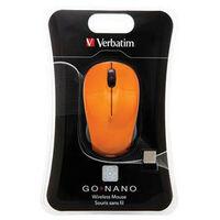 Verbatim Go Nano - Ambidextre - RF sans fil - 1600 DPI - Orange (49045)