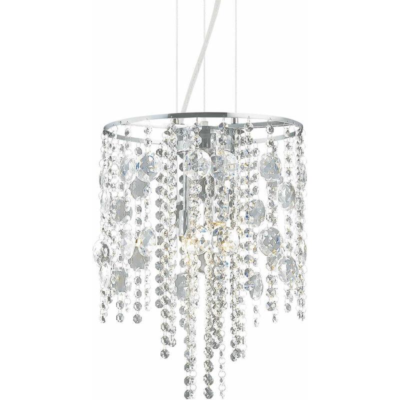 01-ideal Lux - Verchromte Kristall Pendelleuchte EVASIONE 4 Lampen