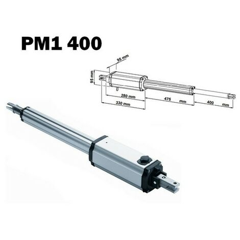 Vérin seul PM1 400, irréversible 230V, course 400 mm, vantail max 2,5m VDS - PM1400.