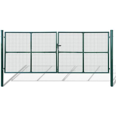 Verja mallada para el jardín, 415 x 200 cm / 400 x 150 cm - Verde