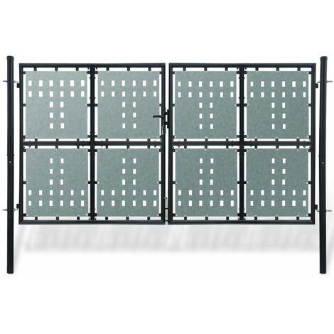 Verja negra con dos puertas de entrada, 300 x 200 cm