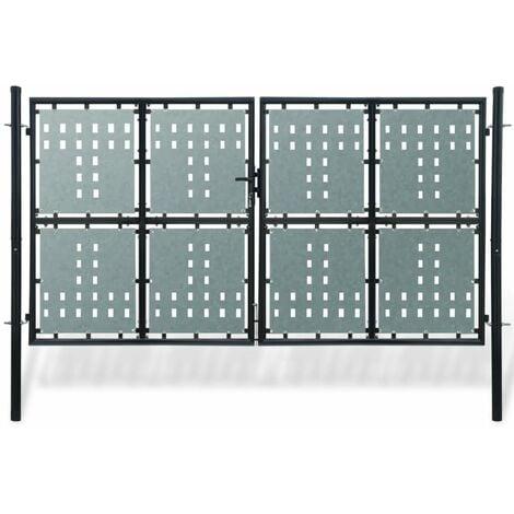 Verja negra con dos puertas de entrada, 300 x 200 cm - Negro