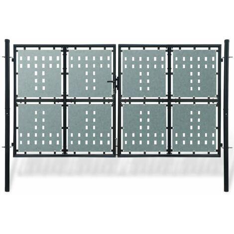 Verja negra con dos puertas de entrada, 300 x 225 cm