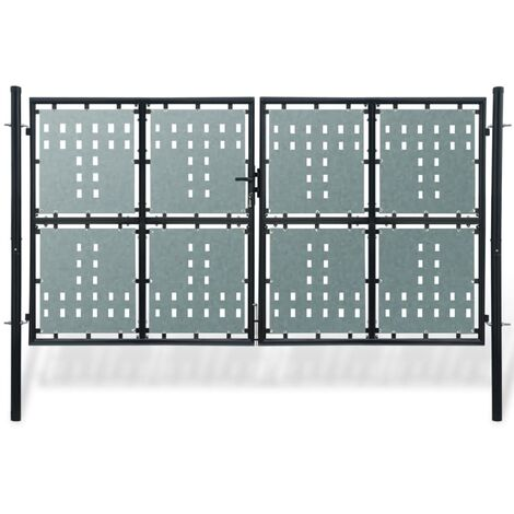 Verja negra con dos puertas de entrada, 300 x 250 cm