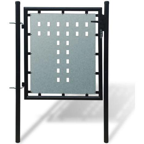 Verja negra con una puerta de entrada, 100 x 125 cm