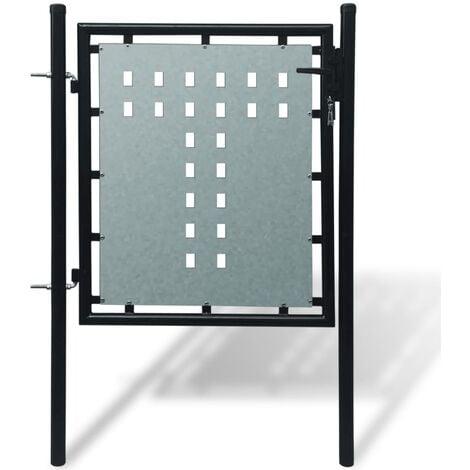 Verja negra con una puerta de entrada, 100 x 150 cm - Negro