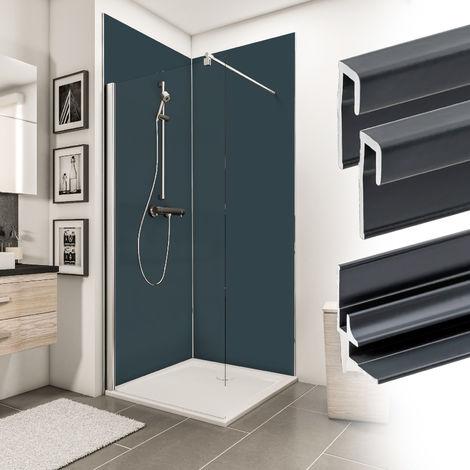 Verkleidungsplatte DecoDesign Set Ecke Farbe von Schulte, beinhaltet 2 Duschrückwände, 2 Endprofile, 1 Eckverbinder, 3 mm starke Aluminiumverbundplatte, inkl. Fixierklebeband und Unterlegkeile, 90 x 210 cm, Farbe: Anthrazit