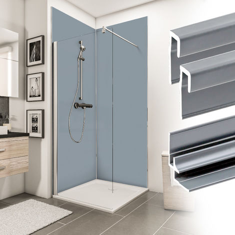 Verkleidungsplatte DecoDesign Set Ecke Farbe von Schulte, beinhaltet 2 Duschrückwände, 2 Endprofile, 1 Eckverbinder, 3 mm starke Aluminiumverbundplatte, inkl. Fixierklebeband und Unterlegkeile, 90 x 210 cm, Farbe: Hellgrau