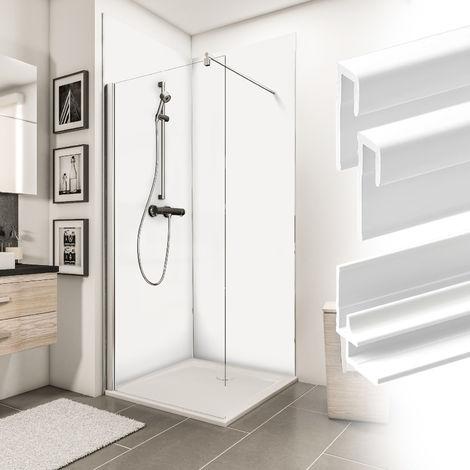 Verkleidungsplatte DecoDesign Set Ecke Farbe von Schulte, beinhaltet 2 Duschrückwände, 2 Endprofile, 1 Eckverbinder, 3 mm starke Aluminiumverbundplatte, inkl. Fixierklebeband und Unterlegkeile, 90 x 210 cm, Farbe: Weiß