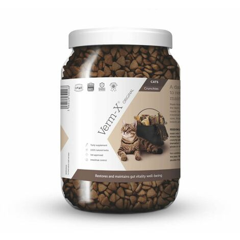 """main image of """"Verm-X Herbal Crunchies For Cats - 650 Gm Tube - VMX0011"""""""