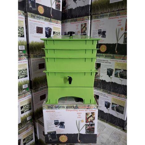 Vermicompostador Verde De 3 Bandejas - The Worm Works
