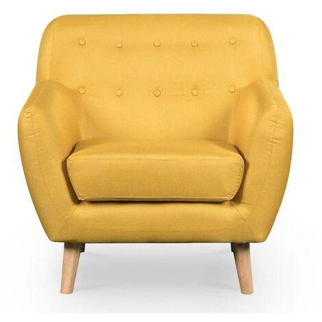 VERNER - Fauteuil scandinave en tissu jaune