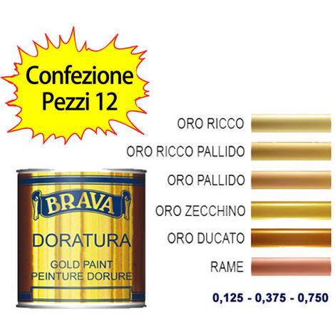 Vernice Doratura Rame Naturale a pennello ml 125 BRAVA Confezione pezzi 12