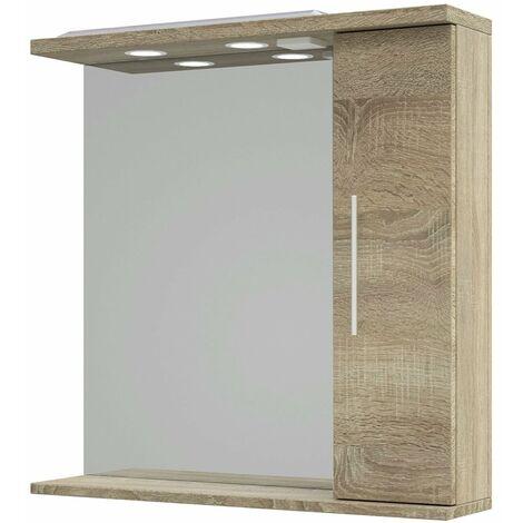 Verona 1-Door Cabinet Mirror Unit 750mm Wide - Bordeaux Oak