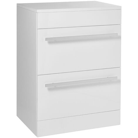Verona 2 Drawer Floor Standing Vanity Unit 750mm Wide - White