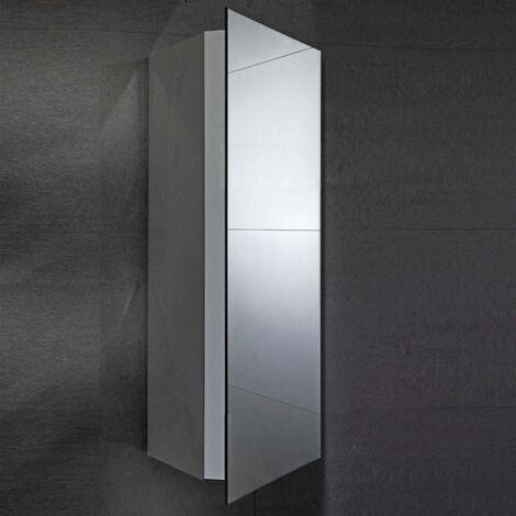 Verona Alcove Corner Mirrored Bathroom Cabinet 300mm Wide - Stainless Steel