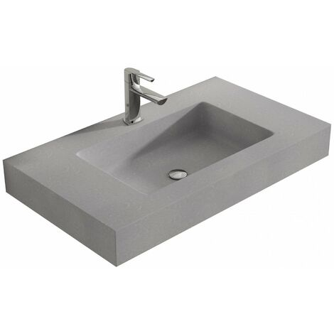 Verona Altai Solid Stone Wall Hung Countertop Basin 600mm Wide Concrete - 1 Tap Hole