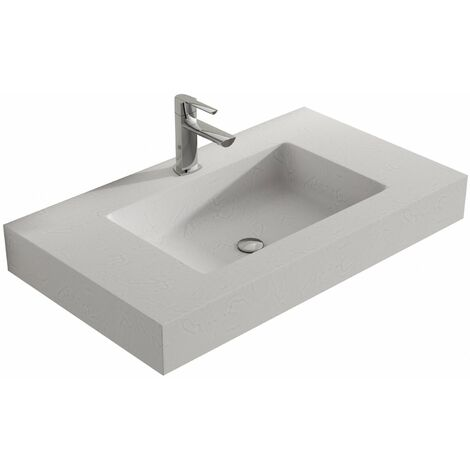 Verona Altai Solid Stone Wall Hung Countertop Basin 600mm Wide Nordic White - 1 Tap Hole