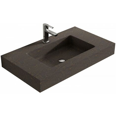 Verona Altai Solid Stone Wall Hung Countertop Basin 800mm Wide Ebony - 1 Tap Hole