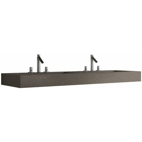 Verona Altai Solid Stone Wall Hung Double Countertop Basin 1200mm Wide Ebony - 2 Tap Hole
