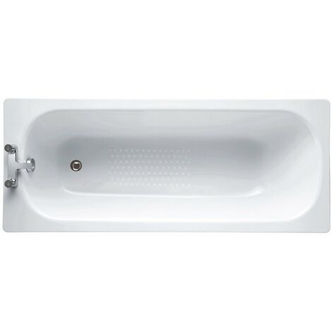 Verona Aquabathe Steel Rectangular Antislip Bath 2 Tap Hole 1600mm x 700mm - Predrilled Grip Hole
