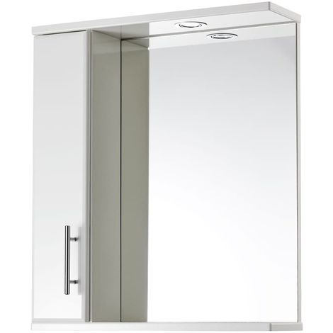 Verona Aquachic Mirrored Bathroom Cabinet - 700mm High x 600mm Wide - Gloss White