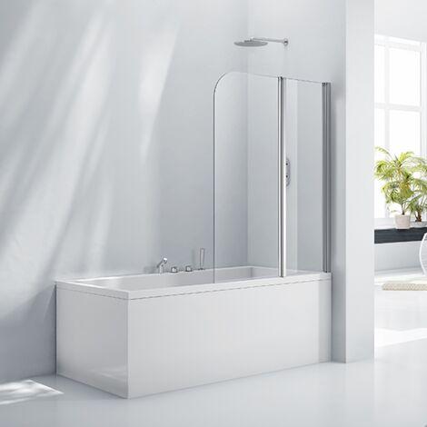 Verona Aquaglass+ Double Folding Bath Screen 1500mm H x 1200mm W - 6mm Glass