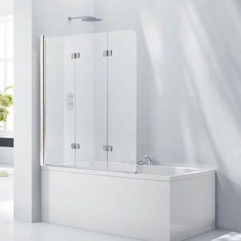 Verona Aquaglass+ Frameless 3 Fold Bath Screen LH 1400mm H x 1200mm W - 6mm Clear Glass