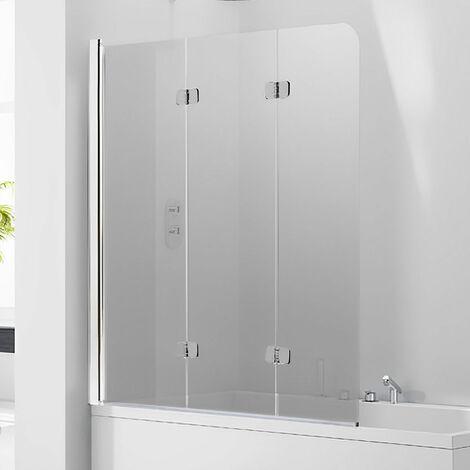Verona Aquaglass+ Frameless 3 Fold Bath Screen LH 1400mm H x 1200mm W - Smoked Glass