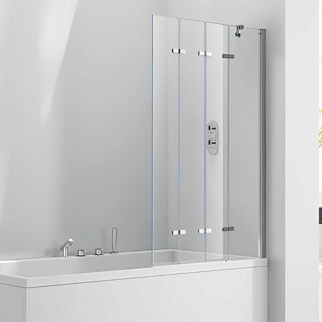 Verona Aquaglass+ Frameless 4 Fold Bath Screen RH 1500mm H x 965mm W - 6mm Glass