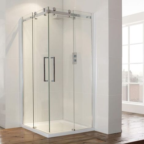 Verona Aquaglass+ Frameless Corner Entry Sliding Shower Enclosure 900mm x 900mm - 8mm Glass