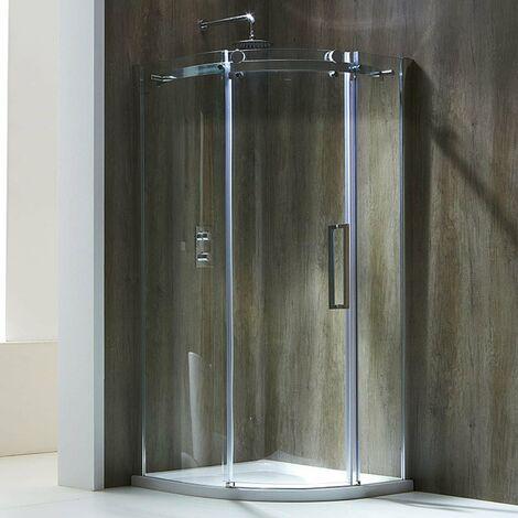Verona Aquaglass+ Frameless Offset Quadrant 1 Door Shower Enclosure 1200mm x 800mm - Right Handed