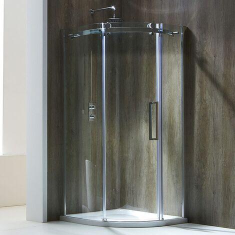 Verona Aquaglass+ Frameless Offset Quadrant 1 Door Shower Enclosure 1200mm x 900mm - Left Handed