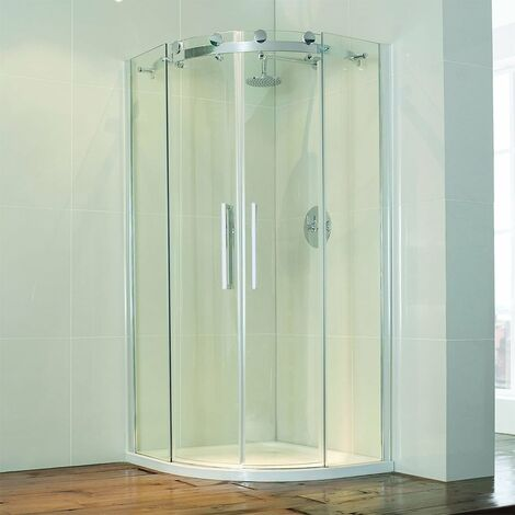 Verona Aquaglass+ Frameless Offset Quadrant 2 Door Shower Enclosure 1000mm x 800mm - 8mm Glass