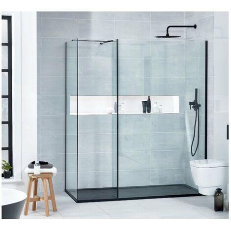 Verona Aquaglass+ L Shape Walk-In Shower Enclosure 1500mm x 800mm with Shower Tray - 8mm Glass