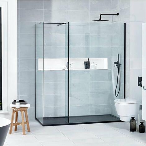 Verona Aquaglass+ L Shape Walk-in Shower Panel 600mm Wide - 8mm Glass