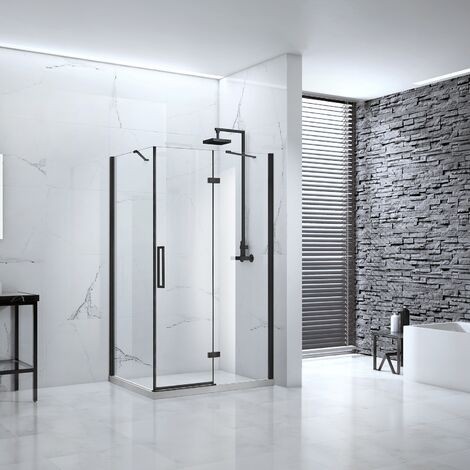 Verona Aquaglass Onyx Black Framed Hinged Shower Door with Inline Panel 1200mm Wide - 8mm Glass