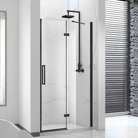 Verona Aquaglass Onyx Black Framed Hinged Shower Door with Inline Panel 1400mm Wide - 8mm Glass