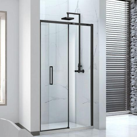 Verona Aquaglass Onyx Black Framed Sliding Shower Door 1200mm Wide - 8mm Glass