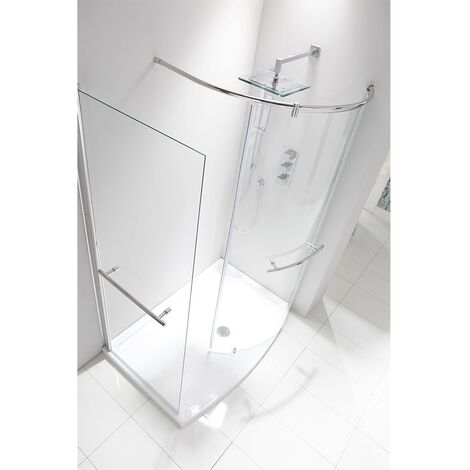 Verona Aquaglass Purity Curved Walk-in Shower Enclosure 1350mm x 900mm - 6mm Glass