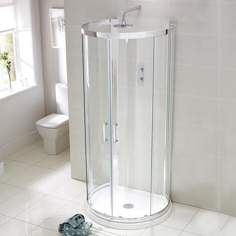 Verona Aquaglass Purity D Shaped Shower Enclosure with Tray 993mm x 850mm - 6mm Glass