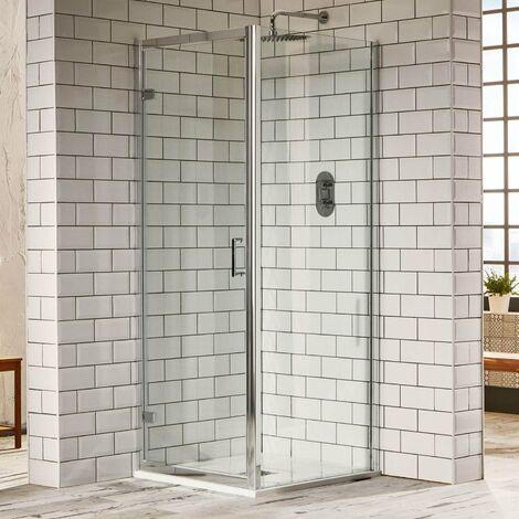 Verona Aquaglass Purity Hinged Shower Door 700mm Wide - 6mm Glass