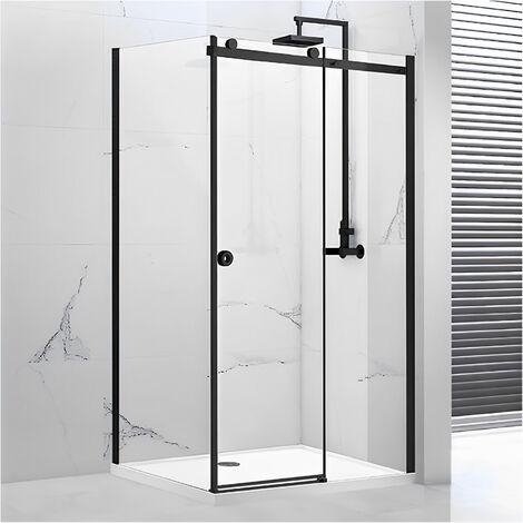 Verona Aquaglass Sphere Black Framed Sliding Shower Door 1200mm Wide - 8mm Glass