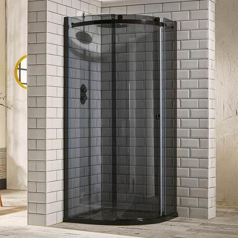 Verona Aquaglass+ Sphere Quadrant 1 Door Shower Enclosure 800mm x 800mm - 8mm Smoked Glass