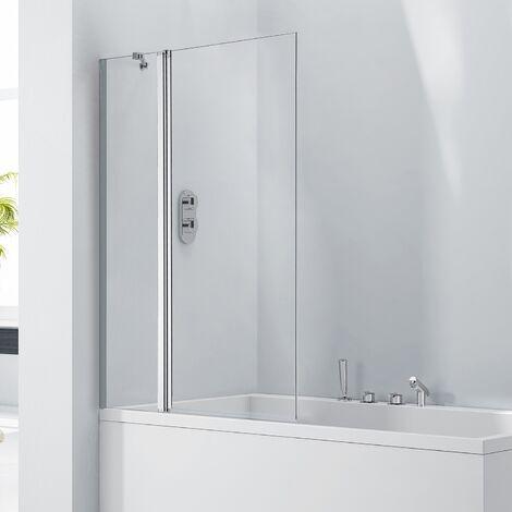 Verona Aquaglass+ Square Bath Screen with Fixed Panel 1400mm H x 800 W - 6mm Glass